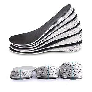 Un par de plantillas de espuma viscoelástica transpirable para aumentar la altura de la plantilla invisible aumento del talón para levantamiento de zapatos