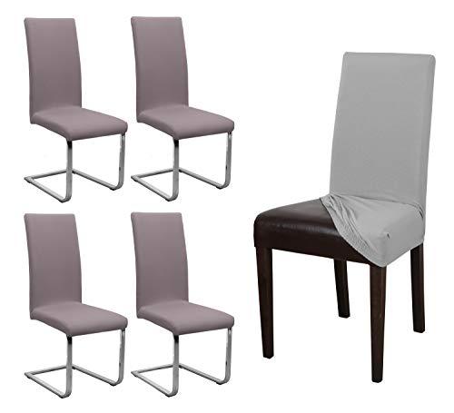 BEAUTEX 4er Set Jersey Stuhlhusse, elastische Stretch Husse Baumwolle Bi-Elastic, Farbe wählbar (Taupe-Braun)