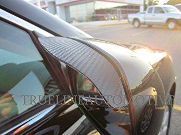 TRUE LINE Automotive Two Piece Carbon Fiber Black Mirror Rain Visor Guard