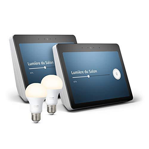 """2 Echo Show (2ème génération) - Son de qualité premium et écran HD 10"""" éclatant, Blanc + 2 Ampoules connectées Philips Hue"""