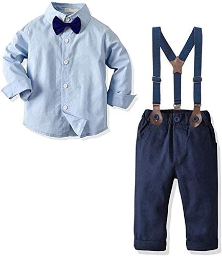 Baby Boys Dress Clothes Toddlers Boys Long Sleeves Button Down Plaid Dress Shirt with Bowtie product image