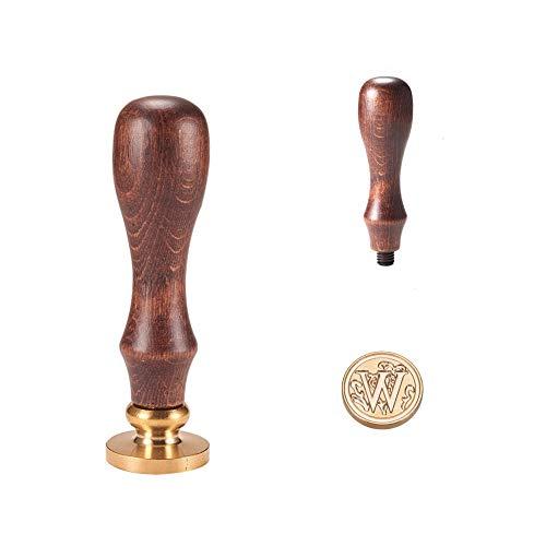 PandaHall Elite 1 Stück DIY Holz Wachs Siegel Stempel, Alphabet Scrapbook Messing Stempel und Holzgriff Sets, Buchstabe W, 25x14mm; 75mm