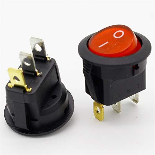 KQATCJ Red Light 20pcs ON-Off SPST Ronda Interruptor oscilante 6A / 250V 10A / 125V AC per Truck Trailer Yacht (Color : Red)