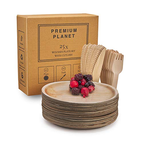 Premium Planet Large Disposable & Biodegradable Plates Set with Cutlery | 25 Plates | 25 Forks | 25 Knives | Eco Friendly & Sturdy | Better Than Paper