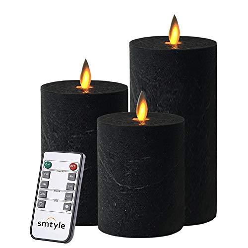 smtyle schwarz Kerzen flammenlose Set von 3Batteriebetrieben mit beweglicher Flamme Docht flackernde LED-Stumpenkerze, 3x 4/5/15,2cm