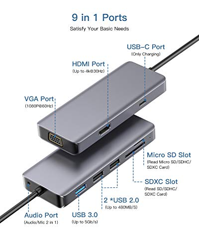 USB C Hub 9 in 1 Dex Station Dual Display vers HDMI 4K,VGA, USB 3.0,Charge,Audio,Lecteur de Carte SD/TF Type C Hub OTG Compatible with Nintendo Switch,MacBook Pro/Air 2018/2019
