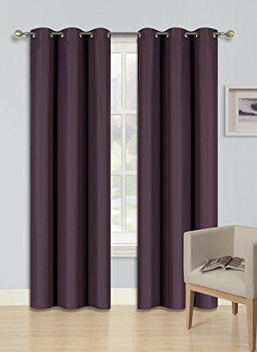 "GorgeousHomeLinen (KK92) 1 Deep Plum Curtain Heavy Thick Thermal Bronze Grommets Top 100% Room Darkening Blackout Insulated Foam Backing Microfiber Drape Panel (84"" Inches Long)"