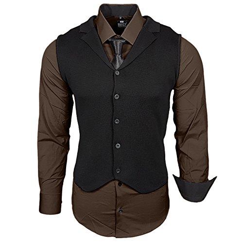 Business Herren Hemd Weste Krawatte Set Anzug Smoking Sakko Herrenanzug Slim fit Hemden Freizeit Hochzeit Hemden B-40-444, Größe:5XL, Farbe:Braun