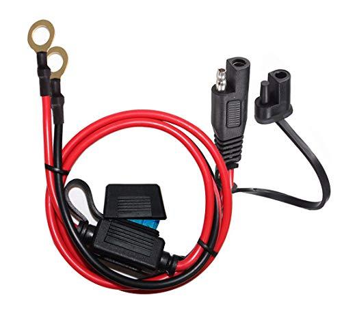 YETOR SAE Stecker,10AWG SAE-O-Ring Anschlusskabel mit 15A Schutzsicherung zur Sicherheit,2pin Schnelltrenn Verlängerungskabel,SAE Batterie Verlängerungskabel mit 2FT für Motorradfahrzeuge.