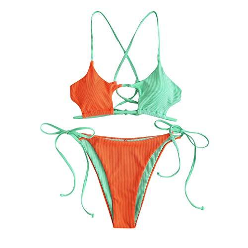 Bikini de dos piezas para mujer a rayas, push up de corte alto, bikini de cintura alta, traje de baño de dos piezas, traje de baño triangular, ropa de playa naranja M