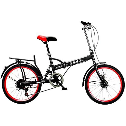 Bicicletas de montaña Bicicleta Plegable Variable 6 velocidades Portátil Adulto Estudiante Ciudad Bicicleta de cercanías, Rojo-Negro