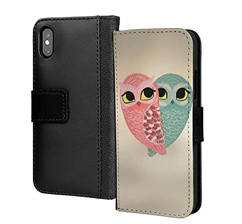 Un par de búhos amor romántico corazón pu cuero cartera en tarjeta teléfono caso cubierta para iPhone 11 Pro