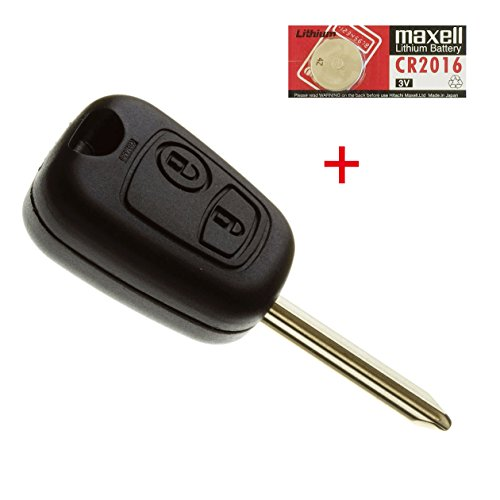 Coque de clé de Voiture Plip de télécommande pour Citroen Xsara Picasso, Saxo et Berlingo avec Pile Maxell CR2016