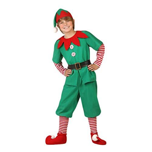 JEELINBORE Unisex Adulto Bambini Elfo di Natale Costume con Cappello Santa's Little Helper Costume da Elfo Natalizie Fancy Dress Cosplay Halloween (Maschio, 170)