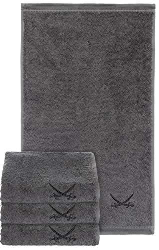 Sansibar Gästehandtuch 4er Set 30x50 cm 100% Baumwolle mit gesticktem Säbel Logo Set Handtuch Seiftuch Anthrazit