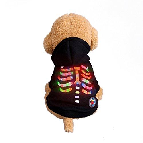 Abcsea Haustier Kostüm, Haustier Kleidung, Hund Kleidung, Haustier Glühen Kleidung, Leuchten Im Dunkeln, Hund Halloween Halloween Glühen Kostüm, Multicolor Rippen Stil - Schwarz - L