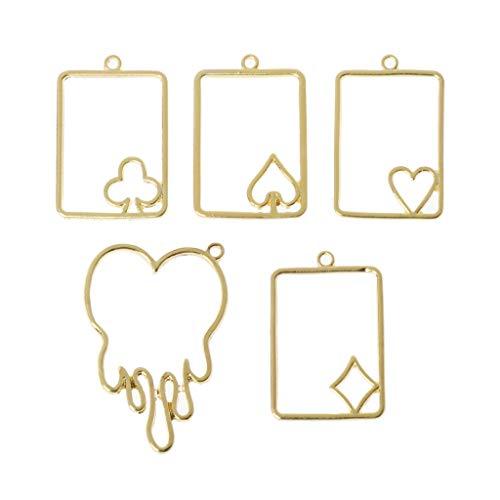 Baiyao Colgantes de marco, 5 unidades, diseño de tarjeta de póquer, bisel abierto, marco en blanco, colgante hueco para manualidades de resina UV, joyería de oro