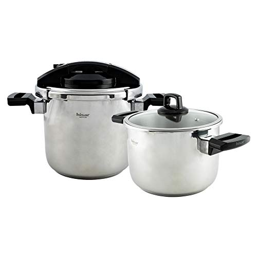 Hisar Neptune Pressure Cooker Pot Set 4+7 Black, Presto Canner,Stainless Steel Pressure Cooker 4 Quarts,7 Quarts, Steam Canner, Pressure Cooker for Canning
