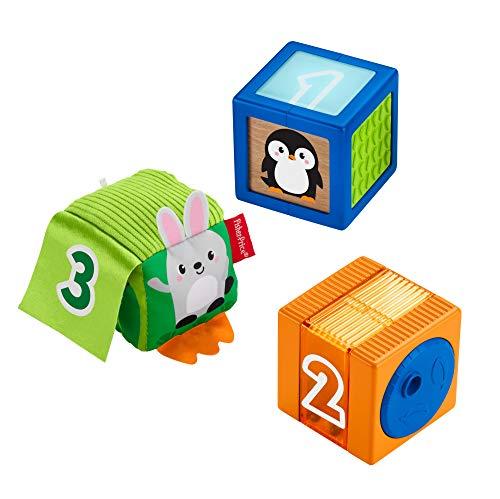 Fisher-Price Nouveaux Cubes d'éveil Surprises, multiples activités et textures pour éveiller les sens de bébé, dès 6 mois, GJW13