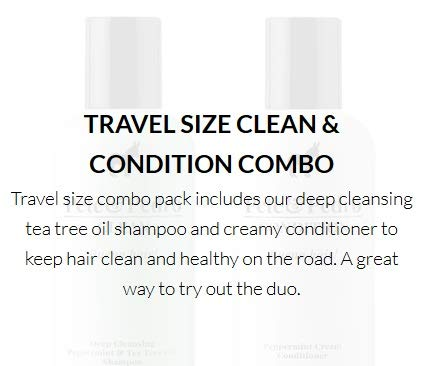 Pete and Pedro Clean & Condition Travel Size {2 ounces each} Combo Pack | Tea Tree Oil Shampoo + Peppermint Cream Conditioner