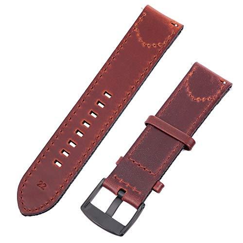 ibasenice Correa de Reloj Inteligente de Cuero de PU Correa de Reloj de Reemplazo Pulsera Duradera Pulsera Cinturón Compatible con Fitbit Charge 3 22Mm Negro