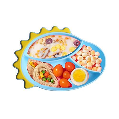 WSYW Juegos de cena Niños Vajilla Set Bebé Silicona Plato de Cena Lindo Dinosaurio Dibujos Animados Complementarios Alimentos Tazón para Ayuda Bebés Comer Azul