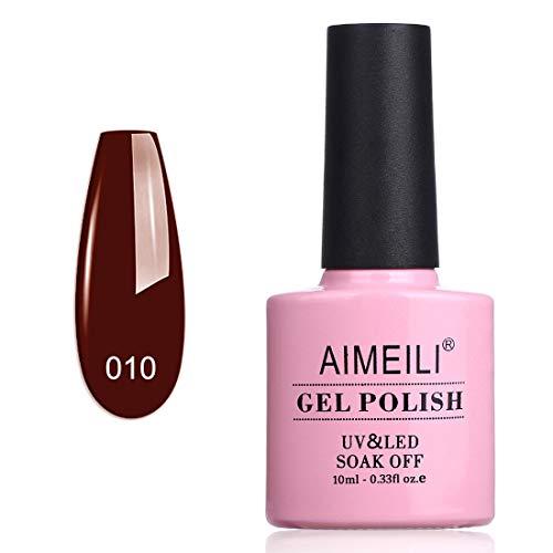 AIMEILI Roter Nagellack UV LED Gellack ablösbarer Dunkelroter Nagellack 10ml - Red Vixen (010)