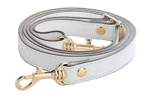 SeptCity Top Quality Grain Leather Adjustable Shoulder Straps -1.8 CM Width(20 Color)(White)