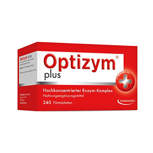 OPTIZYM plus Enzym-Komplex I 6-fach Enzyme in Kombination (Papain, Bromelain, Pankreatin, Rutin, Trypsin und Chymotrypsin) Hochdosiert - 240 Tabletten