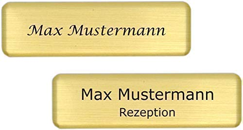 Placa identificativa de plástico-aluminio, incluye grabado con imán plateado, tamaño 70 x 20 mm - dorados