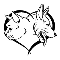 jiawei058 漫画 ステッカー 16CM×15.7CMペット動物犬猫愛の装飾ステッカービニールカーデカール黒/銀 (Color : A)
