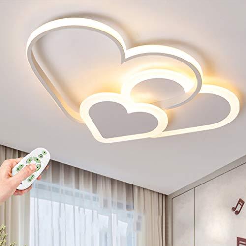 Plafonnier LED Love Heart Creative Design Lampe Pour Enfants Spots De Plafond 30W Dimmable Avec Télécommande Moderne Mince Éclairage Acrylique Garçons Et Filles Lampes De Chambre,Blanc,52cm