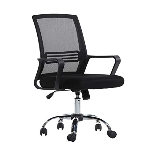 ZXN RTU Relax - Silla ergonómica para oficina en casa y oficina, de malla con apoyo lumbar, apoyabrazos ejecutivo, giratoria, ajustable, con respaldo medio, para mujeres y adultos, color negro