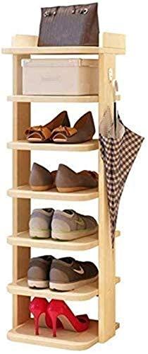 QZMX Estante de Zapatos Zapatos de Madera Nivel Rack Zapatillas Organizador del almacenaje de la Esquina diseño Que Ahorra Espacio Estantes Zapato for Pasillo Pasillo, Madera Color, Estante