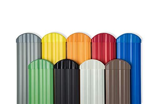 Zaunkappe rund PZKR-17 | passend zu PZL-Zaunlatten | widerstandsfähiges Hart-PVC | Kunststoffzaun | Balkonbretter | pflegeleicht | gelb bunt | Hexim