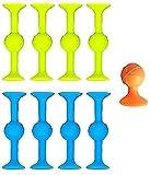 Pop Sucker Toys, marcador de silicona + juego de dardos, gran chupadores para múltiples superficies como vidrio, metal y plástico, liberación interactiva familiar 2021 (azul+verde+naranja, 1 juego)