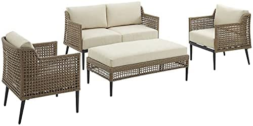 Crosley Southwick 4Pc Outdoor Wicker Ligh Conversation Creme Selling rankings Outlet ☆ Free Shipping Set