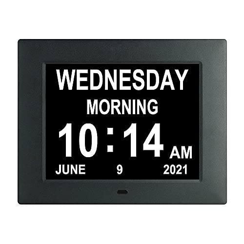Digital Day Calendar Clock with Medication Reminders 8 Alarms Extra Large Day Date Time AM/PM, Dementia Clocks Perfect for Elderly Senior Impaired...