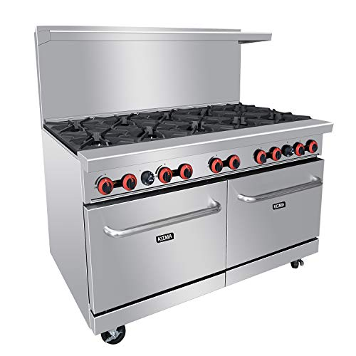 Commercial 60'' Gas 10 Burner Range With 2 Standard Ovens - Kitma Heavy Duty Natural Gas Cooking Performance Group for Kitchen Restaurant  304 000 BTU
