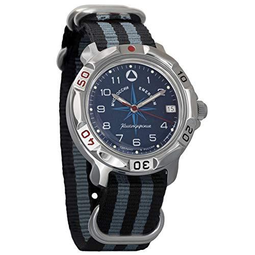 Vostok Komandirskie 2414 Reloj Militar Ruso mecánico de Cuerda Manual // 811942 (Black+Grey)
