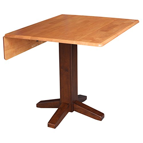 International Concepts Square Dual Drop Leaf Dining Table, 36', Cinnamon/Espresso