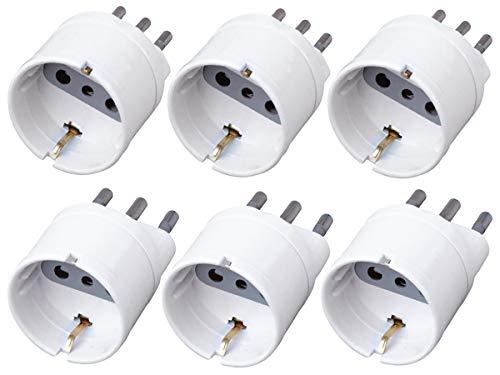 LEDLUX 6 Pezzi Adattatore Corrente Elettrica Con Presa Schuko 2P+T 10A Colore Bianco Max 1500W 250V (Spina 16A + Spina 10A)
