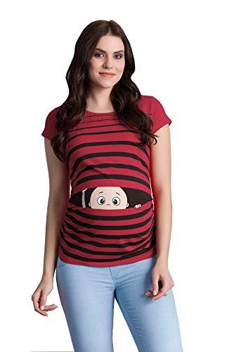 Witzige süße Umstandsmode T-Shirt mit Motiv Schwangerschaft Geschenk - Kurzarm (M, Weinrot)
