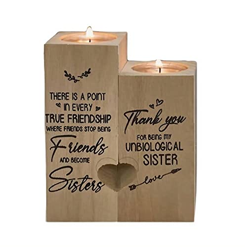 Set di portacandele in legno a forma di cuore, con candele per migliore amico, ringraziamento, amicizia e regalo di compleanno per donne sorelle