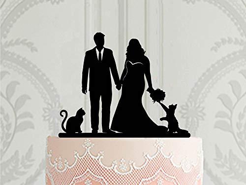 Aangepaste Bruidstaart Topper met 2 Katten Curvy Bruid Groom in Pak Taart Topper voor Bruiloft Op maat gemaakt met kat of hond Taart Decoratie