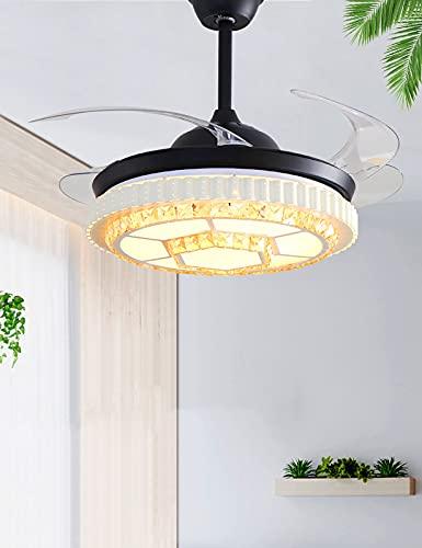 XIAOQIAO Ventilador de Techo de Cristal con Luces, Accesorio de Iluminación de Techo Ajustable de 3 Velocidades, para Decoración del Hogar, Sala de Estar (42 Pulgadas)