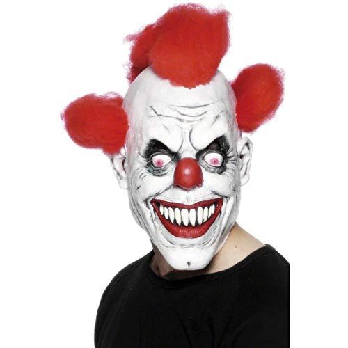 Smiffys Herren Grusel Clown Maske mit angebrachtem Haar, One Size, Rot und Weiß, 26385