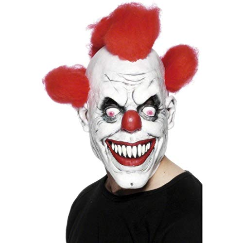 Smiffys-26385 Máscara de payaso 3/4, con pelo, color rojo y blanco, Tamaño único (Smiffy's 26385) , color/modelo surtido