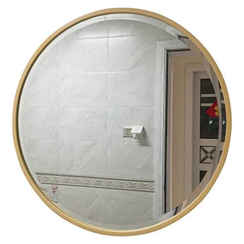 JJHOME-Miroirs Grand Miroir Mural Moderne | Cadre Cercle Bois épaisseur 4 cm | Panneau de Verre Rond Flottant | Vanité, Chambre ou Salle de Bain | Pendaison