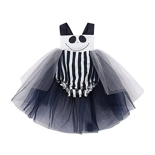 Geagodelia Baby Mädchen Halloween Body Ärmellos Strampler mit Schleife Tutu Kleid Neugeborene Halloween Outfit Oberteile Kleidung 0-24Monate Jumpsuit mit Schleppe (Schwarz weiß, 12-18 Monate)